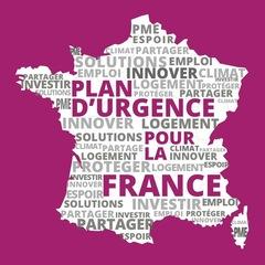 Couverture du livret de 16 pages présentant le plan d'urgence pour la France proposé par Nouvelle Donne. C'est une carte de France avec des mots-clés inscrits dessus : espoir, solutions, climat, innover, logement, partager,etc.